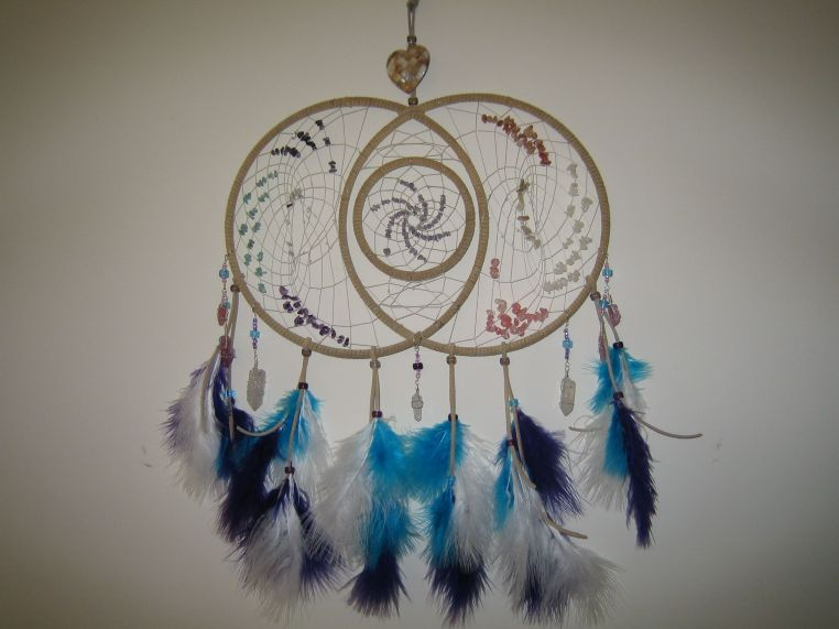 Auroras dreamcatcher among the crystals dragons and fae for How to make a double ring dreamcatcher